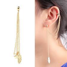 cuff earrings with chain women girl stylish rock leaf chain tassel dangle ear cuff