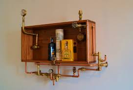 Bar Wall Shelves by Steampunk Industrial Wall Shelf Mini Bar