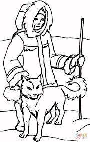 eskimo dog with eskimo coloring page free printable coloring pages