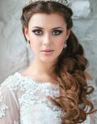 half up wedding hairstyle with tiara long hairstyles with tiara