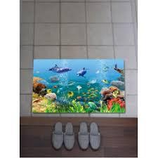 Fish Bath Rug Coral Fleece Underwater Fish Bath Rug In Colorful W20 Inch L31 5