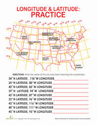 latitude and longitude of cities worksheet education com