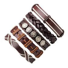 braided leather charm bracelet images Xinyao 6pcs set black wristband genuine leather charm bracelet men jpg