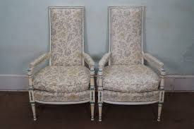 vintage pair french hollywood regency style painted high back