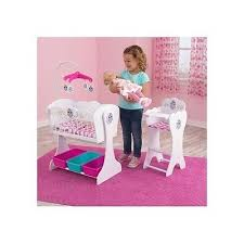 Baby Doll High Chair Set Doll Crib Furniture Set High Chair Kids Play Wooden Mobile Bed