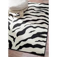 Black And White Rug Overstock Nuloom Zebra Animal Print Black Off White Rug 5 U00273 X 7 U00279 Free