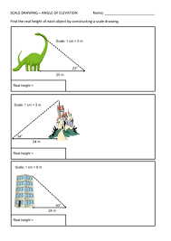 angle of elevation scale drawing worksheet by mrgraymaths