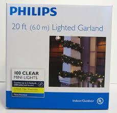 philips 20 ft lighted garland 100 clear mini