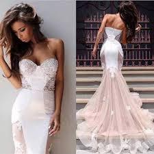pink lace wedding dress blush pink wedding dress mermaid strapless sweetheart tulle