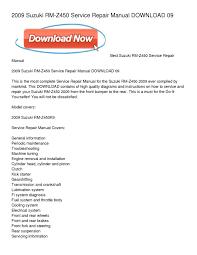 calaméo 2009 suzuki rm z450 service repair manual download 09