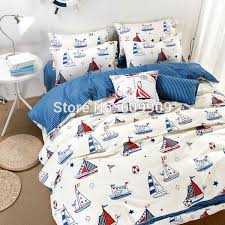 Nautical Bed Sets Boat Bed Sheets Nautical Bedroom Blue White Red Stripes Anchor And
