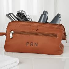 Kansas Mens Travel Bag images Embroidered brown leather dopp kit travel bag jpg