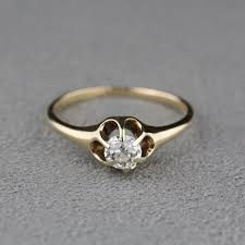 mine cut engagement ring antique mine cut ring in 14 karat yellow gold
