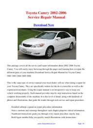 2002 toyota camry service manual toyota camry 2002 2006 repair manual pdf drive
