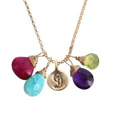 birthstones grandmothers initial and birthstone necklace gold covey necklace