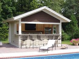 Garage Pool House Plans by Build A Bar Into The Side Of Your Pool House Where Family Can Eat