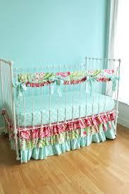 Aqua And Pink Crib Bedding by Bumperless Kumari Garden Crib Bedding Lottie Da Baby Baby