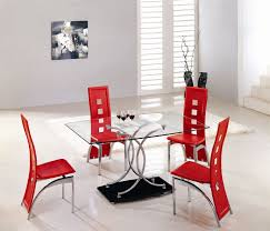 Glass Top Dining Table And Chairs Rectangle Glass Dining Table Top With Curvy Chrome Stand And