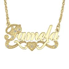 name with necklace images Gold over silver name necklace with heart