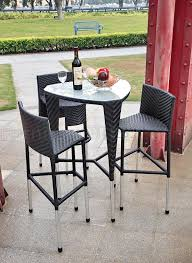 triangle high top table black modern 4 pc triangle outdoor bar set w glass table top