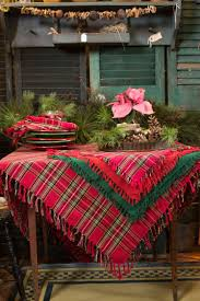 i love the layering of plates including the tartan and toile