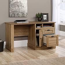 sauder barrister scribed oak desk with storage 418294 the home depot