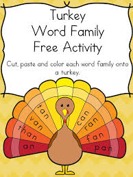 thanksgiving word family activity for kindergarten free