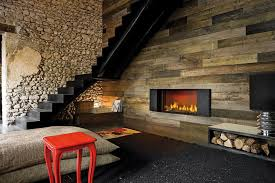 contemporary chair with wall decor and wooden fireplace