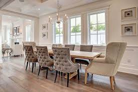 large trestle dining table long trestle dining table with gray velvet tufted dining chairs