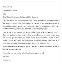 College Letter Of Recommendation From A Family Friend recommendation letter for employment for a friend reference letter