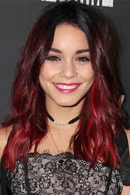 how to achieve dark roots hair style vanessa hudgens wavy burgundy dark roots peek a boo highlights