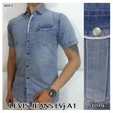 Baju Levis Biru jual kemeja baju pria cowok pendek kerja fashion biru levis