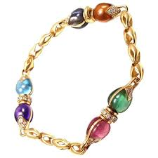 gemstone link bracelet images Bulgari allegra gemstone diamond gold link bracelet at 1stdibs jpg