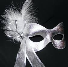 silver masks silver ribboned feather masquerade mask