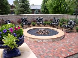 black patterned cushions glass fire pit patio traditional with black patterned cushions brick