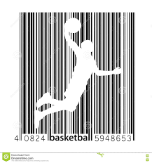 Barcode Designs For Silhouette Of A Basketball Player And Barcode Stock Vector