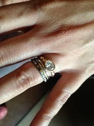 silver engagement ring gold wedding band nuptials pio