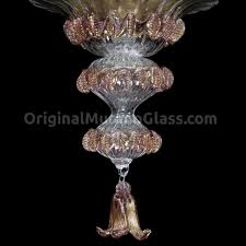 Murano Glass Chandelier Chandelier Ametist Gold Tulip Floral Murano Glass