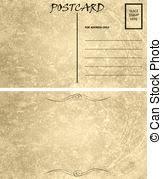 stock illustrations of vintage empty blank postcard template