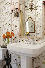 powder rooms with wallpaper sarah s house season 4 bird wallpaper in powder room hgtv hooked
