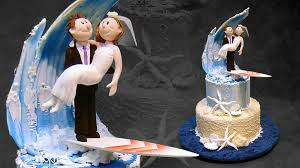wedding cake theme theme wedding cake with a surfing topper yeners way