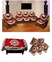 Red Sofa Slipcovers Shopgrab Red Sofa Cover Set With Table Cover 12 Pcs Buy