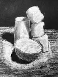 marshmallow white charcoal drawing on black paper create art with me