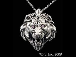 gemstone silver necklace images Lion head necklace with gemstone eyes jpg