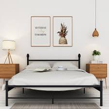 vecelo metal bed frame with headboard and footboard full size