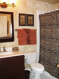 bathroom featuring african tribal art and patterned mudcloth