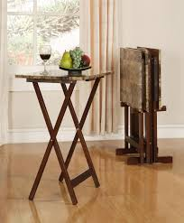linon tray table set faux marble brown