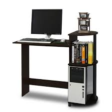 Computer Desk With Shelves Above Black Wooden Computer Desk With Books Shelf Above The Cpu Storage