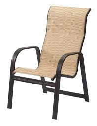 Patio Chair Sling Chairs Aluminum Stacking Patio Chairs 2 Count Brown Dining Sling