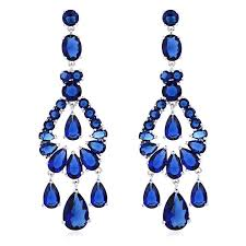 royal blue earrings 2018 austrian chandelier big fashion jewelry wedding